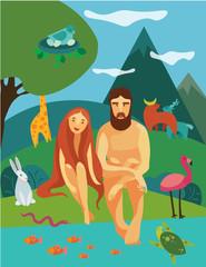 Adam and Eva in Eden Garden