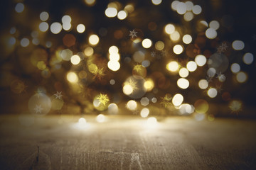 Golden Christmas Lights Background, Party Or Disco Texture With Wood
