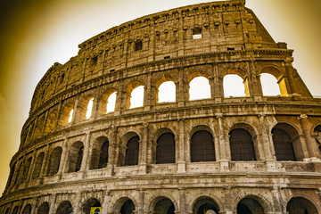Colosseum closeup view, the world known landmark of Rome, Italy.