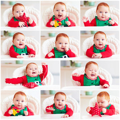 set of cute happy infant baby boy in elf costume sitting in highchair