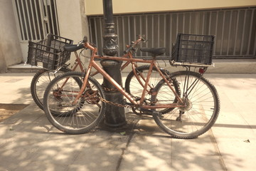 Old bikes in the street