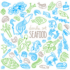 Seafood doodle set. Variety of fish, molluscs, crustaceans. Vector drawing isolated on white background.
