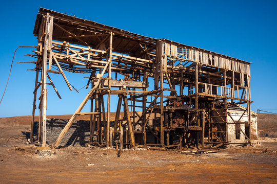 Wooden building of pulley system in salt mine in Cape Verde