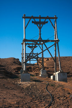 Salinas cableway in salt mine. Cape Verde
