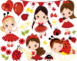 Vector Set with Cute Little Girls and  Ladybugs