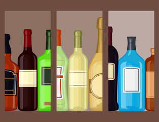 Alcohol drinks beverages cocktail cards bottle lager container drunk glasses vector illustration.