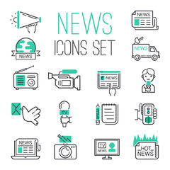Journalism media hot tv news outline black communication and chat information online icons communicate set microphone global vector illustration.
