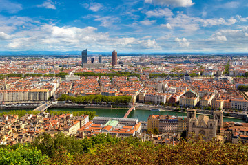 Panoramic view of Lyon, France