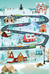 Winter Village With People Cars and Buildings Illustration