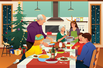 Family Having Christmas Dinner Together Illustration