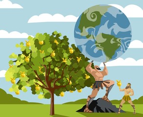 hercules taking golden apples from a tree and atlas holding the globe