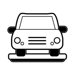 car frontview icon image vector illustration design  black and white