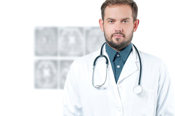 Male doctor with stethoscope. Healthcare