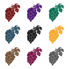 Fototapete - Bunch of grapes icon in black style isolated on white background. Wine production symbol stock vector illustration.