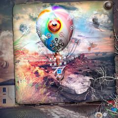 Mongolfiera steampunk in volo in un paesaggio desolato