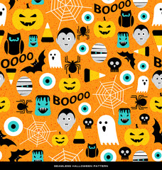 Seamless pattern of various cute halloween icons. For web backgrounds, fabrics, wrapping paper, decoration.