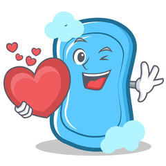 With heart blue soap character cartoon