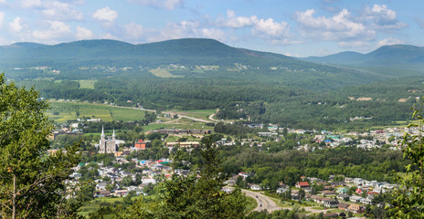 aerial view of baie st-paul city in charlevoix quebec