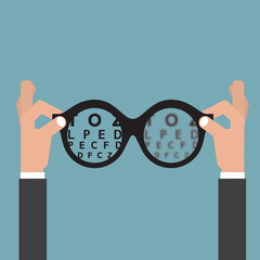 Hold hands Glasses Optician, Vision Of Eyesight Eye Care Concept Vector Illustration