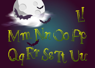Halloween Jumping Letters. Evil Vector Type in Gothic Style for Halloween Card. Grunge Green Handwritten Alphabet. Fun Typeset on Dark Background with Night Moon, Clouds and Bats.