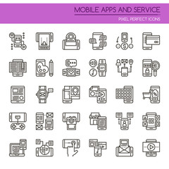 Mobile Apps and Service , Thin Line and Pixel Perfect Icons.