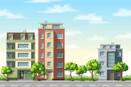 Illustration of colorful modern family houses with trees