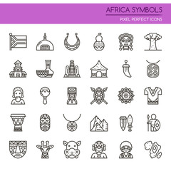 Africa Symbols , Thin Line and Pixel Perfect Icons.