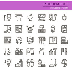 Bathroom Stuff Elements , Thin Line and Pixel Perfect Icons.