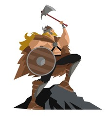 viking with axe and shield