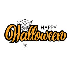 Happy halloween hand lettering, ink brush calligraphy isolated on white background, with black spider and web sketch, type design holiday vector illustration.