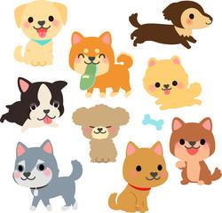 犬のいろいろなポーズのイラストセット