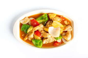 Chinese cuisine Stir fried chicken with Sweet and sour sauce