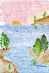Banner in watercolor style. Marine theme. Coast, sand, stones, island