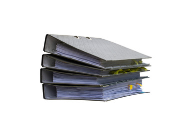 Pile of papers with document file isolated bound with string on white background