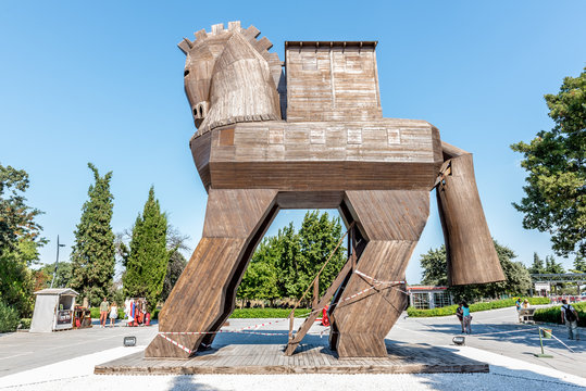 Famous Trojan horse in ancient city of Troy.Wooden Trojan horse in ancient city Troy.TURKEY, Canakkale,18 August 2017