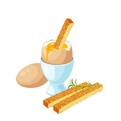 Toast soldiers with soft-boiled egg in eggshell in egg holder. Vector illustration cartoon flat icon isolated on white.