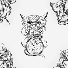 Seamless pattern of a wise owl with a clock on a white background.