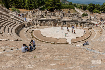 People visit Amphitheatre (Coliseum) at Ephesus historical ancient city, in Selcuk,Izmir,Turkey:20 August 2017