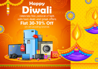 Wall Mural - Burning diya on Happy Diwali Holiday Sale promotion advertisement background for light festival of India