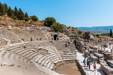 People visit Odeon (Bouleuterion) at ancient ruins at Ephesus historical ancient city, in Selcuk,Izmir,Turkey:20 August 2017