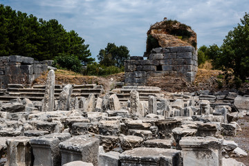 General view of marble Ruins in Ephesus historical ancient city, in Selcuk,Izmir,Turkey.