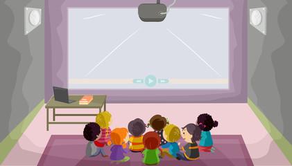 Stickman Kids Audio Visual Room Illustration