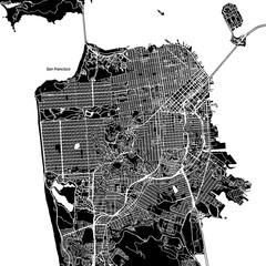 San Francisco, California. Downtown vector map.