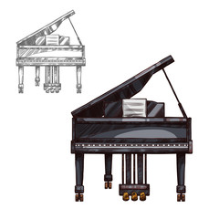 Vector sketch piano music instrument