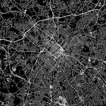 Charlotte, North Carolina. Downtown vector map.