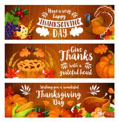 Thanksgiving banner set with turkey, cornucopia