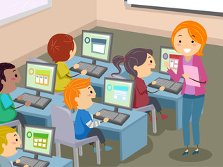 Stickman Kids Computer Lab Illustration