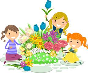 Stickman Kids Flowers Pick Girls Illustration