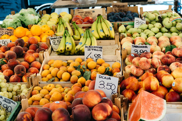 Fresh fruits and vegetables in street market