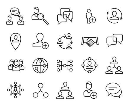 Premium set of network line icons.